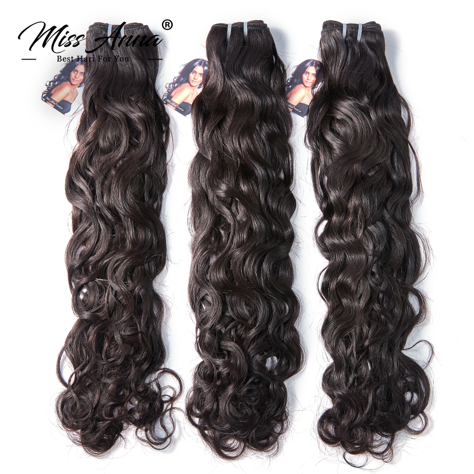 MissAnna Natural Wave 8-30 Inch Indian Virgin Hair Natural Color 1/3/4PCS/Lot 100% Human Hair Weave Bundles