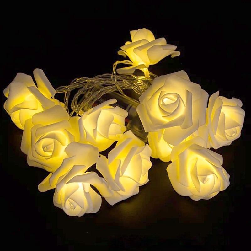 1.5M 10led AA Battery LED Rose Christmas Lights Holiday String Lights Valentine Wedding Decoration Flower Bulbs LED Lamp