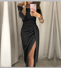 Dress 2019Top New Fashion Women Fashion V-Neck High Slit Bodycon Dress Long Sleeve Party Dresses For Women Clothing fashion v neck cutout cross back front slit dress for women
