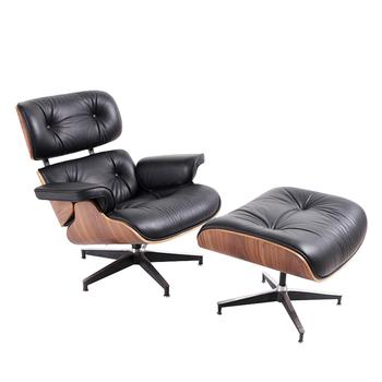 Super miękki czarny skórzany fotel wypoczynkowy z drewna orzechowego z osmańskim klasycznym bujanym krzesło obrotowe salon fotel Sofa meble tanie i dobre opinie CN (pochodzenie) Nowoczesne Meble do salonu 90*50*61*40 46*63*54 TY-303 Minimalistyczny nowoczesny Szezlong Meble do domu