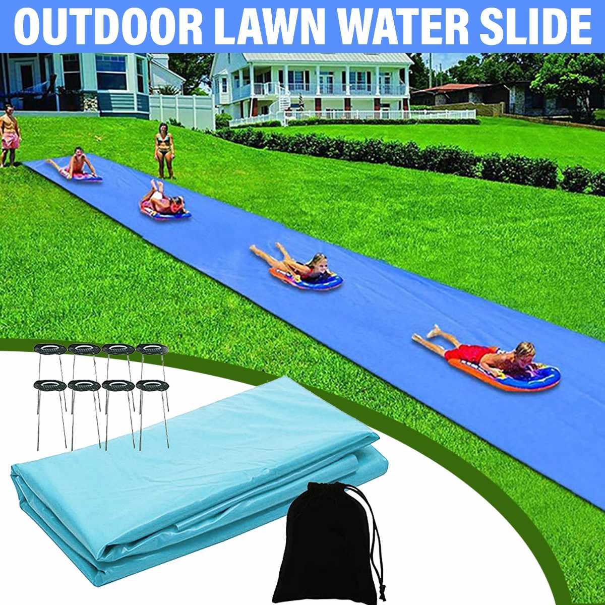 8M Double Single Inflatable Water Slide Mat Summer Waterskiing Splash Play Toys Outdoor Surfboard Summer Water Games