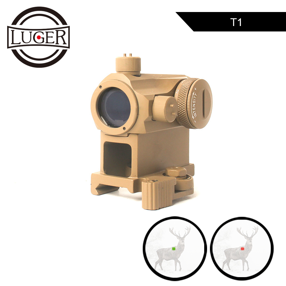 LUGER Tactical Red Dot Sight Scope T1 1X24 Mini Micro Hunting Optics Riflescope Quick Release Red Green Dot Air Gun Rifle Scope