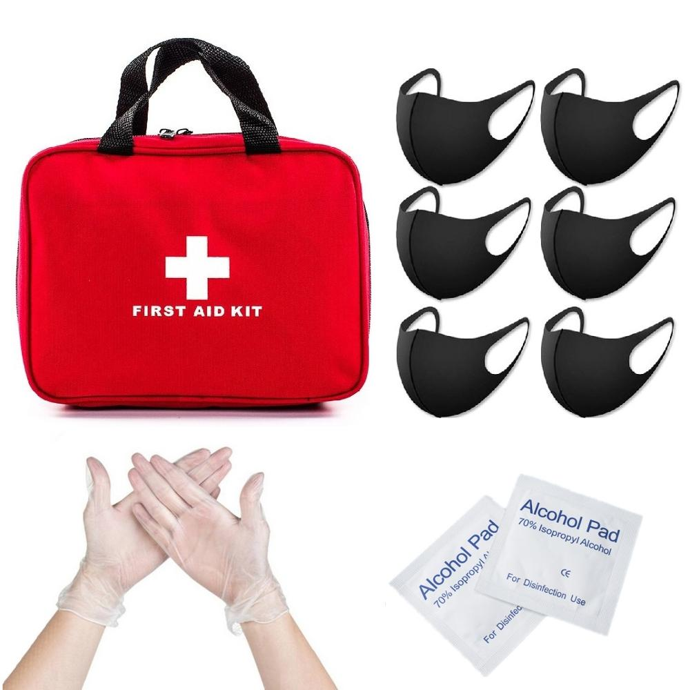 First Aid Kit Anti Dust Face Masks Washable Disposable PVC Golves Alcohol Disinfection Prep Pads Healthy Protective Bag Outdoor