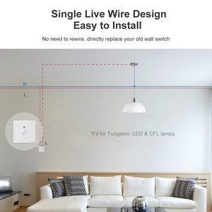 Image 2 - SONOFF T4EU1C Wifi Wall Touch Switch 1 Gang EU No Neutral Wire Required Switches Smart Single Wire Wall Switch Works With Alexa