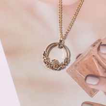 цена на Bohemia DIY Flower Crystal Necklace For Women Girl Simple Small Enamel Hollow Out Pendant Necklaces Clavicle Choker Jewelry Gift
