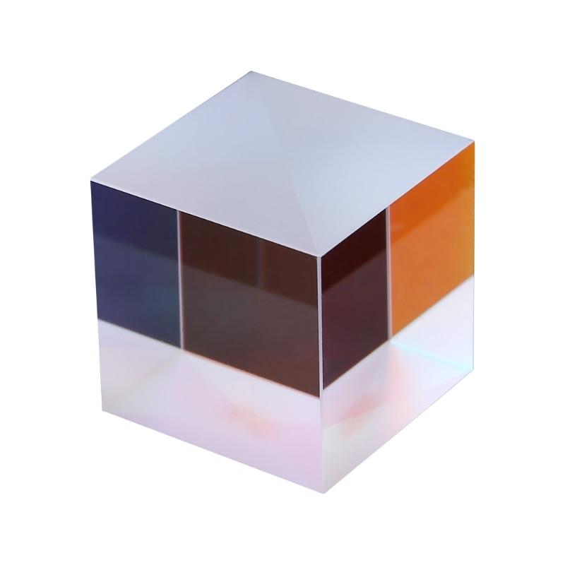 Prisme triangulaire en verre optique de prisme de Cube dichroïque de croix de séparateur coloré de combinateur pour enseigner la physique de spectre lumineux 20mm