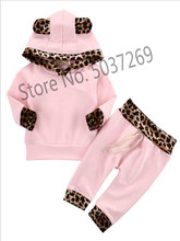 2019 New Newborn Baby Girl Clothes Pink Cute Romper Outfit Pants Set Hooded Long Sleeve Children 0-1 Bebe