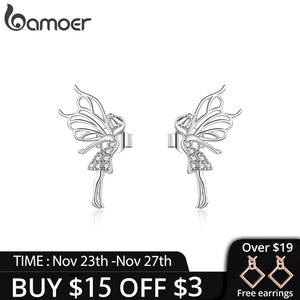 bamoer Silver 925 Jewelry Dancing Fairy with Wings Stud Earrings for Women Hypoallergenic Ear Pins Gifts for Kids BSE338