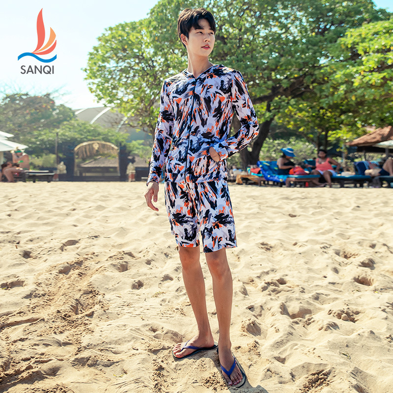 Manufacturers Direct Selling Sanqi Fashion Models Seaside Holiday Men's Short Boxer Beach Shorts Outer Shirt Swimwear