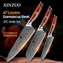 XINZUO-Juego de cuchillos de cocina de acero damasco, Santoku, afilado, cortador, herramientas de Cuchillo de regalo, 3 uds., VG10