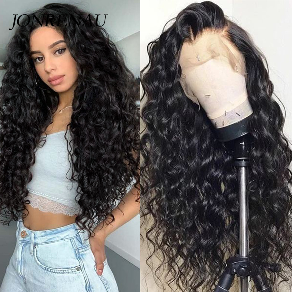 JONREANU Synthetic Lace Front Wig Long Curly Black Heat Resistant Fiber Afro Wig For African American Women