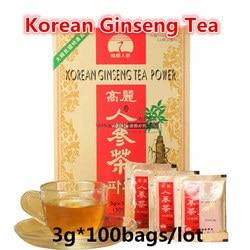 3G * 100 Zakken Originele Koreaanse Ginseng Thee, Rode Ginseng, Zuid-korea Import, made In Korea, Stimuleren Energie, Hoge Kwaliteit Gratis Verzending