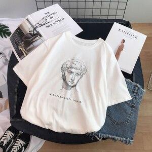 Ulzzang Harajuku Funny Black and White Drawing David Printed Short Sleeve T-Shirt Loose O-neck Casual Women T-Shirt Tee Tops