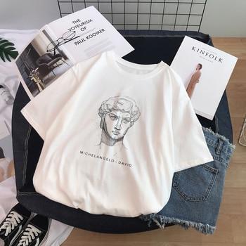 Ulzzang Harajuku Funny Black and White Drawing David Printed Short Sleeve T-Shirt Loose O-neck Casual Women Tee Tops - discount item  23% OFF Tops & Tees
