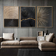 Abstract Black Golden Line Texture Poster Vintage Minimalist Wall Art Canvas Painting Modern Luxury Living Room Home Decor