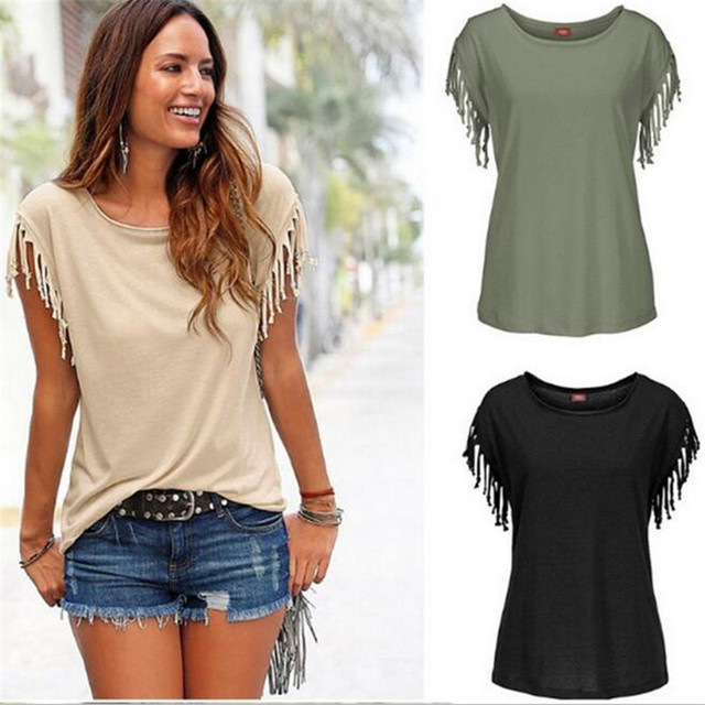 Tassel Casual T-shirt Sleeveless Solid Color Tees Short Sleeve O-neck Women's Clothing