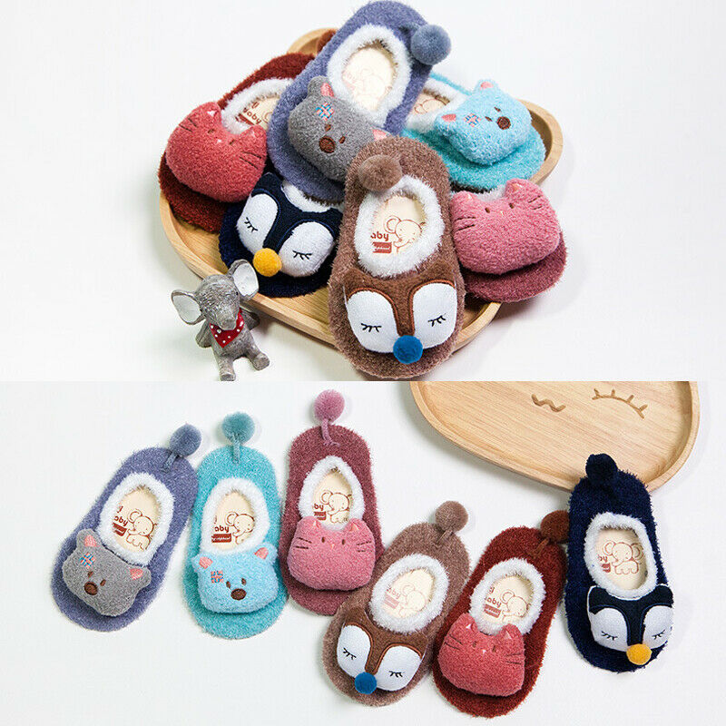 Newborn Baby Girls Boys Kids Toddler Anti Slip Shoes Cartoon Slipper Floor Solid Lovely Shoes Autumn Winter Warm