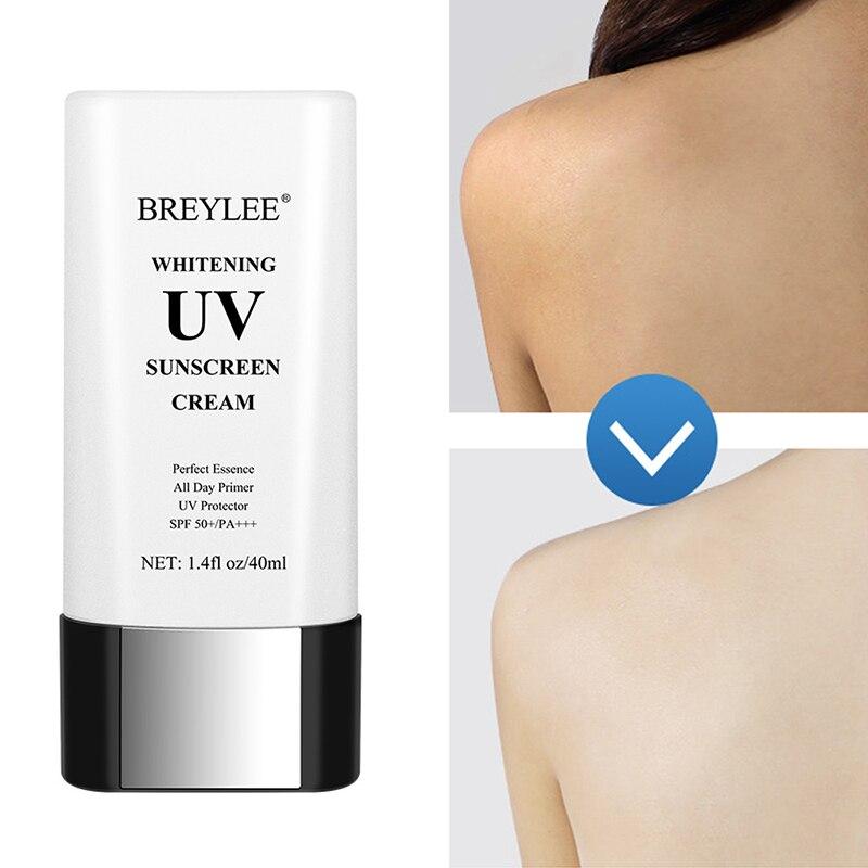 BREYLEE Whitening UV Sunscreen Cream SPF50 Sunblock PA+++ Moisturizing Anti Aging Dust Oil Control Reduce Melanin Skin Care 40ml