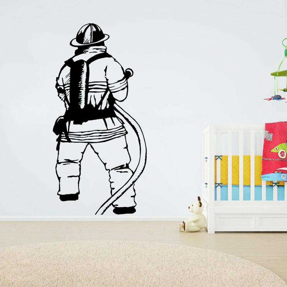Firefighter Wall Decals Nursery Classroom Adornment Fireman Fire Department Bedroom Ceiling Wardrobe Vinyl Stickers Decor Z309