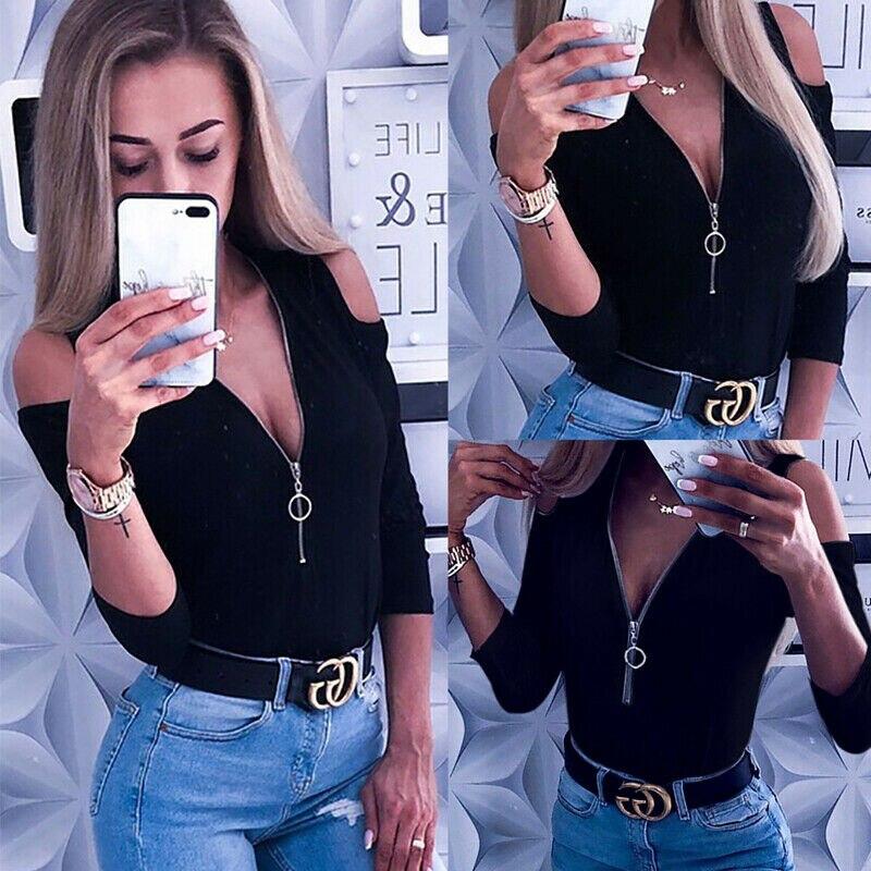 Women Open Shoulder Top Zipper V Neck Collar Long Sleeve Casual Ladies Slim T-Shirt Daily Sexy Tops