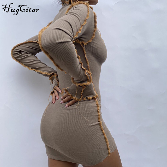 Hugcitar 2020 Long Sleeve Patchwork Sexy Mini Dress Autumn Winter Women Fashion Streetwear Outfits Clit Club Y2K Clothing 2