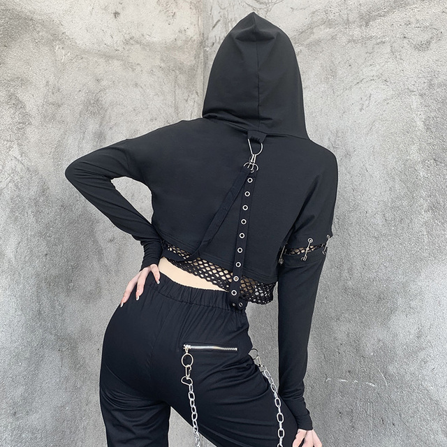 Black hoodies with buckle and mesh