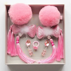 Pinzas de pelo de diseño Floral con borlas para niñas lindas para el pelo de moda para niños pequeños anillos accesorios 6 uds