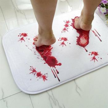 Flannel Doormat Blood Novelty Printed Bathroom Bath Floor Mat Rug Water Absorption Non-slip 40*60cm Doormats Non-slip Carpet