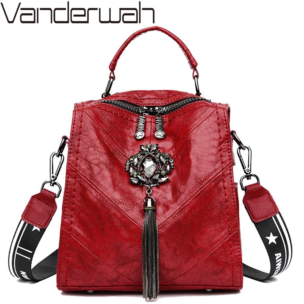 Backpack For Teenager Girls School Bag Studded Tassel Bagpack Sac A Dos Women Leather Small Travel Backpack Shoulder Bag Mochila