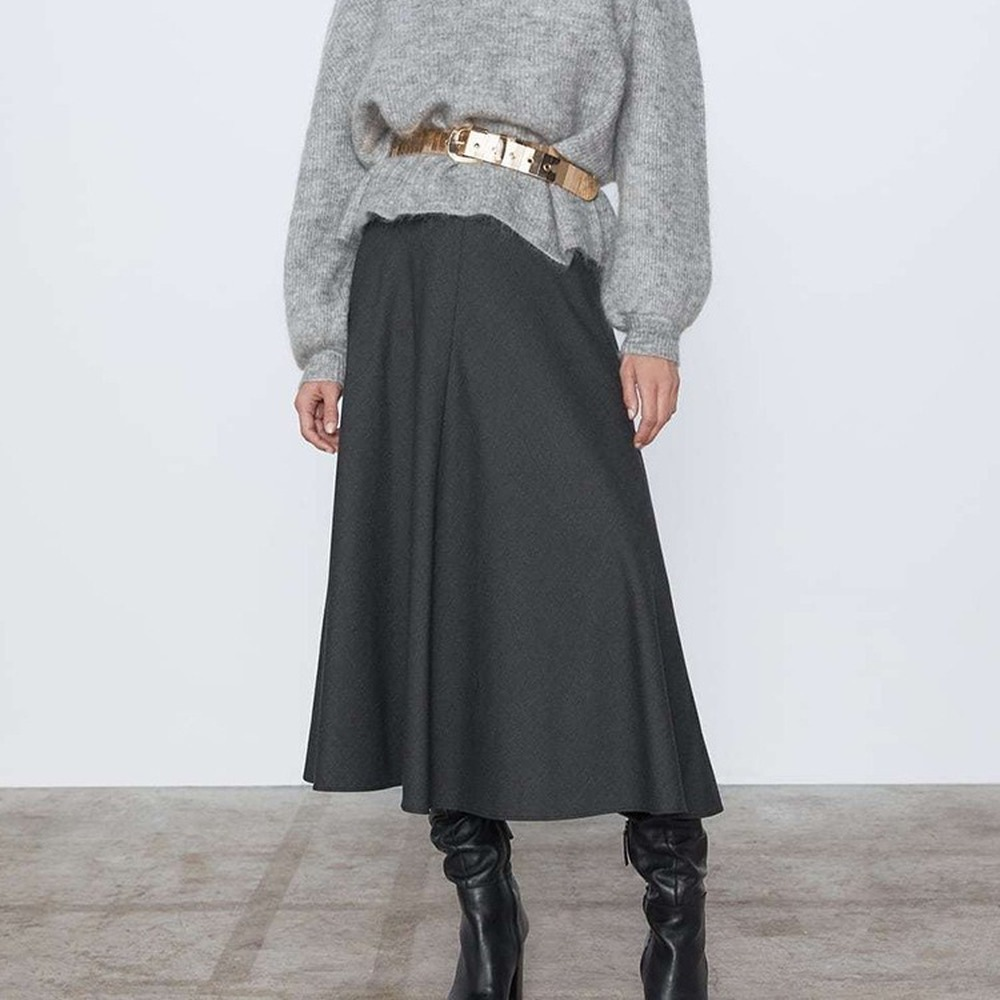 Зимняя Женская Длинная шерстяная юбка, модные базовые юбки с высокой талией, женские повседневные плотные теплые эластичные