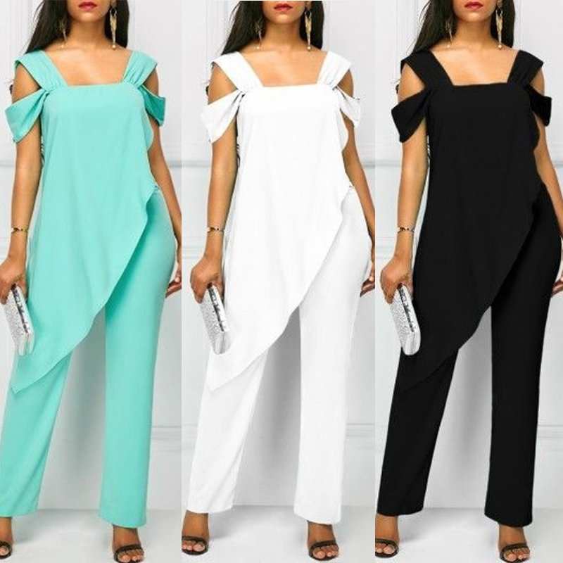 Women Jumpsuit Playsuit Chiffon Irregular High Waist Romper Office Lady Solid Pencil Pants Sleeveless Female Jumpsuits Plus Size