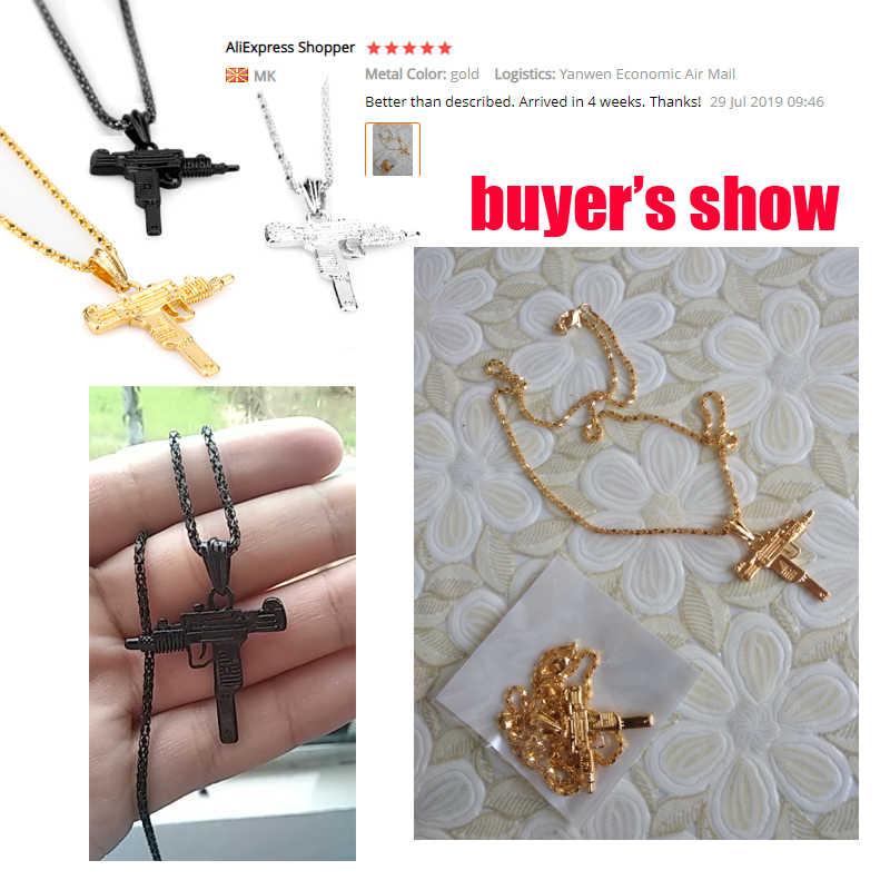 Uzi arma forma pingente colar para homens hip hop jóias prata/ouro/cor preta aço inoxidável estilo do exército masculino corrente colares