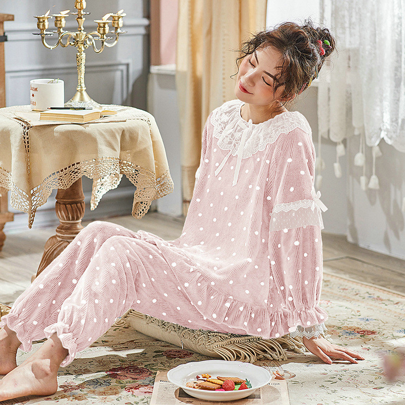 JULY'S SONG Women Cute Thick Flannel Pajama Sets Sleepwear Wave Autumn Winter Lace Pajamas Warm 2 Pieces Pajamas Homewear Suit 30