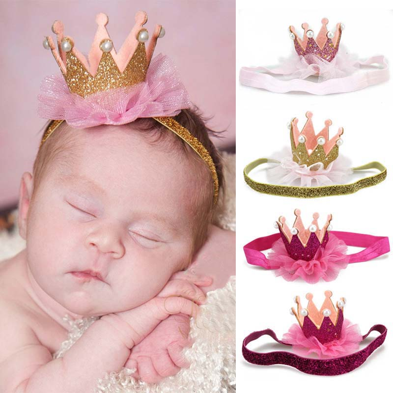 Crown Baby Girl Headband Accessories Hair Band For Girls Baby Shiny Princess Children Tiara Headband Elastic Ribbon Headdress