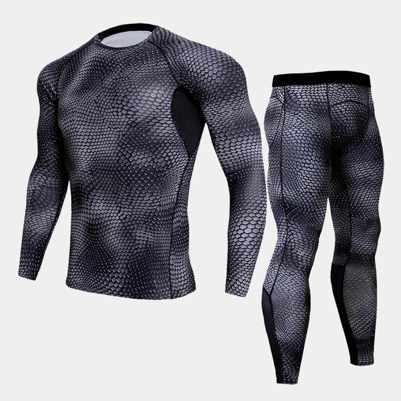 Compression Shirt Tactical MMA Rashgard Union Suit Men's Long Sleeve T-Shirt + Men's Leggings 2 Piece Tracksuit Men Camouflage