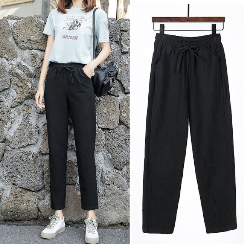 New Women Pants 2020 Spring Autumn New Cotton Casual Pants Ankle Length Harem Pants Office Sweat Solid Straight Trousers Female