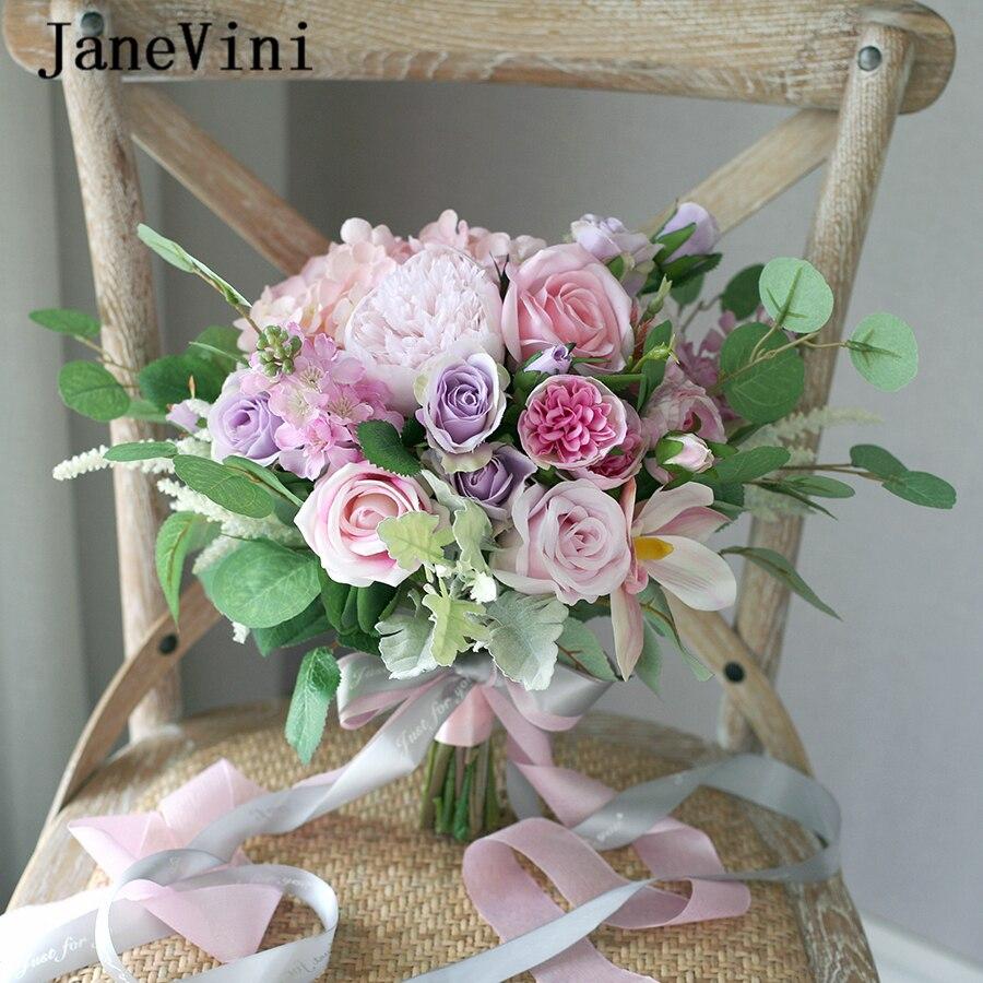 JaneVini romantique mariée Bouquets violet Rose mariage artificielle soie pivoine Rose vert feuilles mariée titulaire fleurs Ramo De Novia