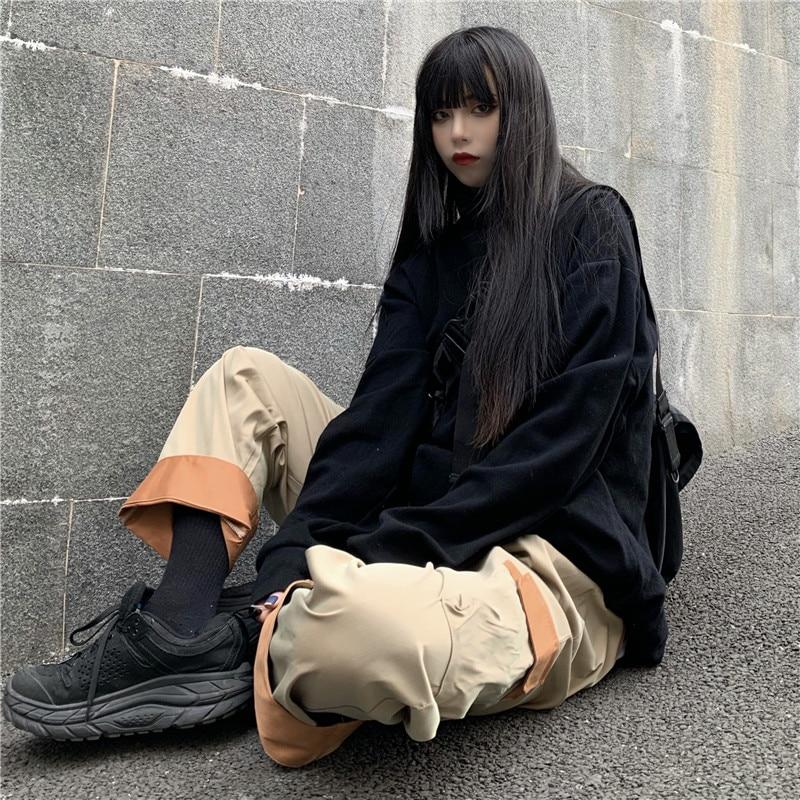 Focal20 Streetwear Hit Color Patchwork Pockets Women Cargo Pants Wide Leg Loose Female Trousers Elastic Waist Autumn Lady Bottom