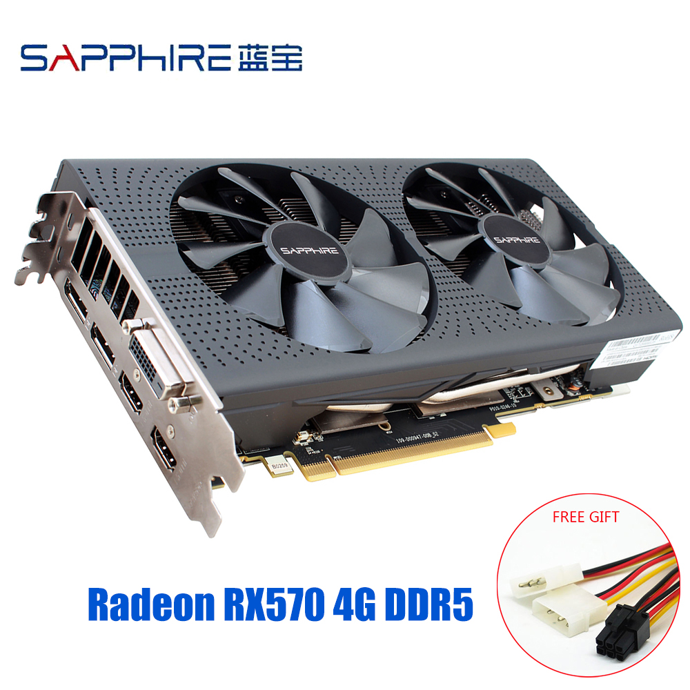 SAPPHIRE Graphics Cards AMD Radeon RX 570 4GB Gaming PC Video Card RX570 4GB GDDR5 256bit PCI Express 3.0 Desktop Used RX 570