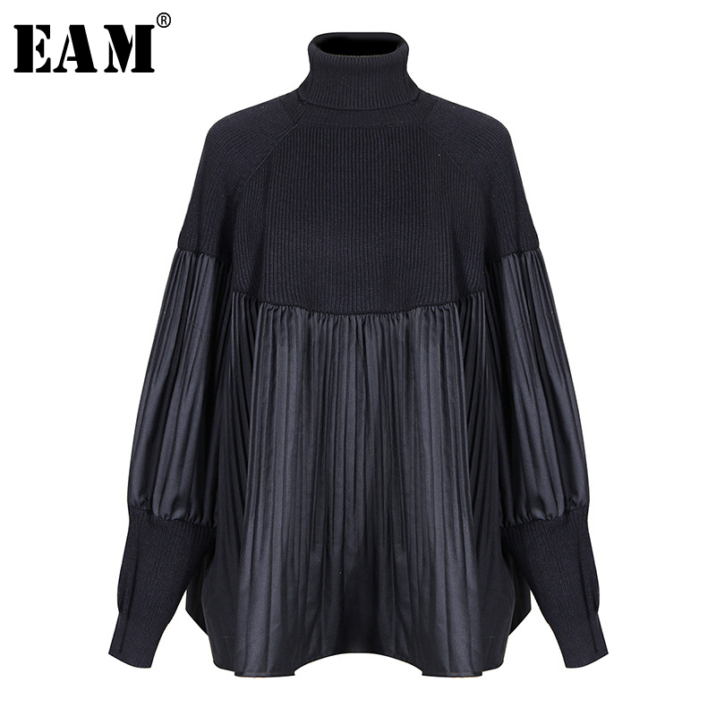 [EAM] Pelated Split Big Size Knitting Sweater Loose Fit Turtleneck Long Sleeve Women Pullovers New Fashion Spring 2020 1M877