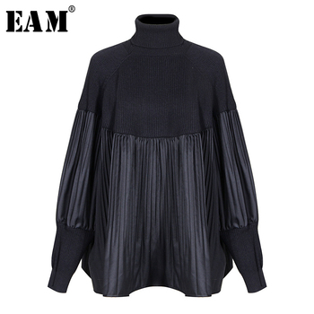 [EAM] Pelated Split Big Size Knitting Sweater Loose Fit Turtleneck Long Sleeve Women Pullovers New Fashion Spring 2020 1M877 [eam] pelated split big size knitting sweater loose fit turtleneck long sleeve women pullovers new fashion spring 2020 1m877