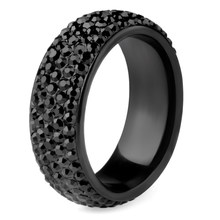 Chanfar Arc Stainless Steel Crystal Rings For Women Full Size Black Crystal blingEngagement Wedding Ring Female Jewelry(China)