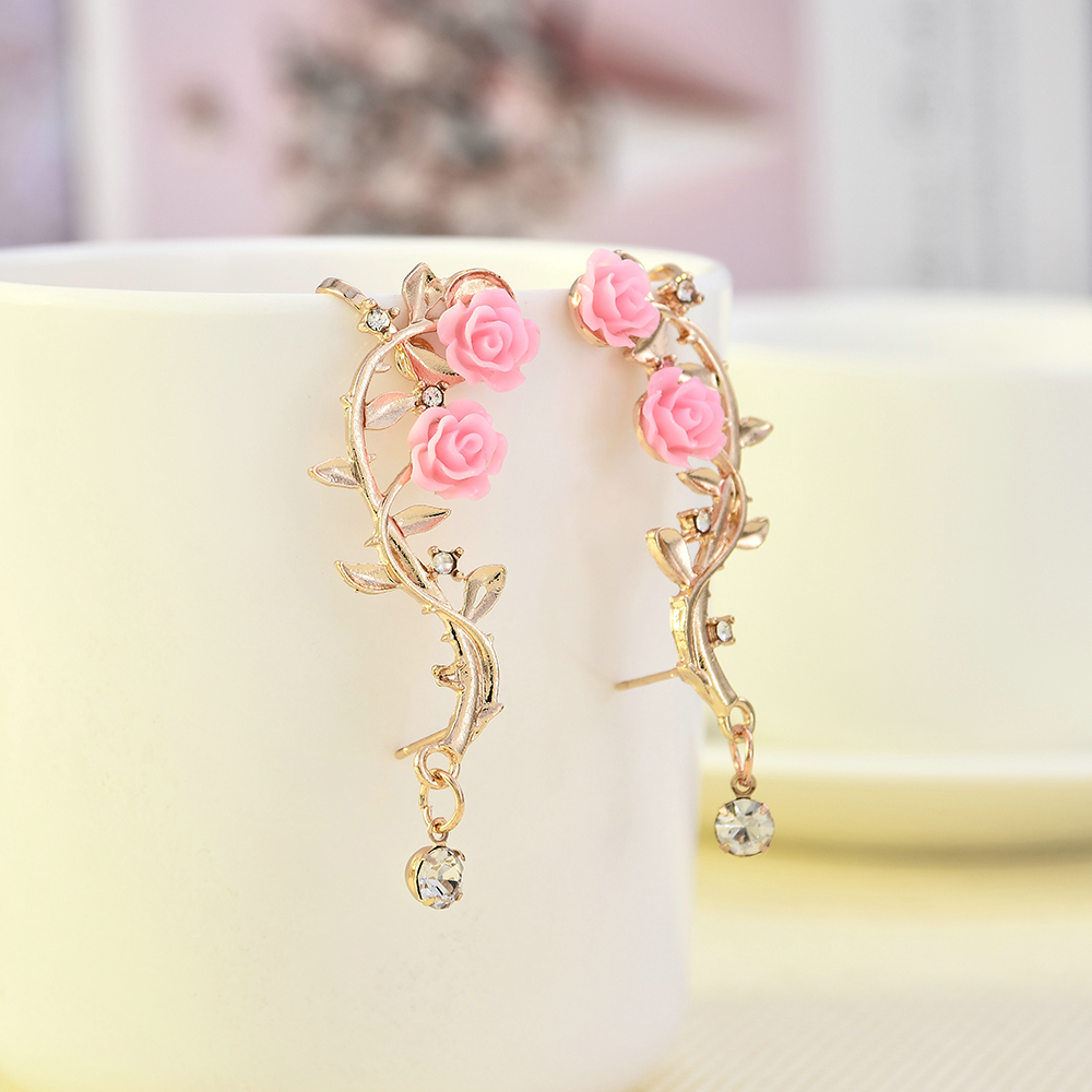 Fashion Lady Gold Pink Rose Leaf Flower Ear Stud Cuff Earring Women Jewelry Pendientes Princesas Boucle D'oreille Cristal