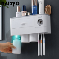 BAISPO New Magnetic Adsorption Toothbrush Holder Automatic Toothpaste Dispenser Toiletries Storage Rack Bathroom Accessories