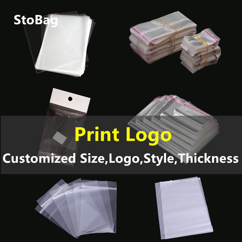 StoBag Customized Transparent Plastic Bag Print Logo Clear Opp Self Adhesive Hanging With Hole Top Open Flat Bags