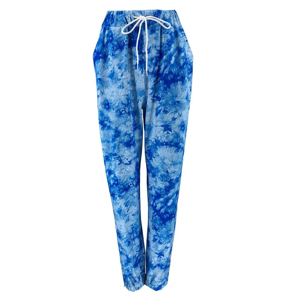 Komplet niebieskich dresów damskich bawełnianych farbowanych metodą tie dye 2