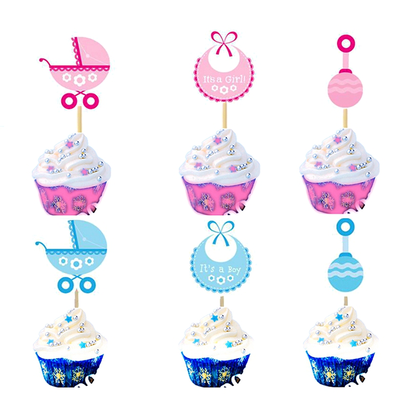 Its a Girl Gender Reveal Baby Shower Party Cupcake Toppers Cake Picks Pink 18pcs
