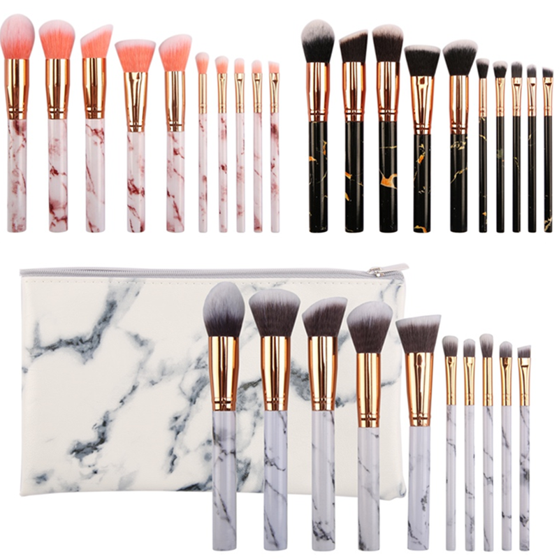 S'AGAPO 10PCS Marble Plastic Makeup Brush Set Professional Powder Blush Foundation Eyeshadow Concealer Trimming Face Beauty Tool