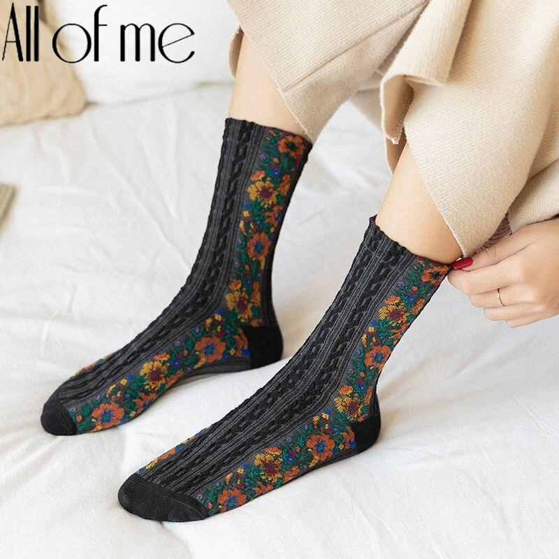 Женские носки с цветочным принтом, хлопчатобумажные забавные носки, подходят без падения, зимняя винтажная одежда для сна, женские носки Ха...