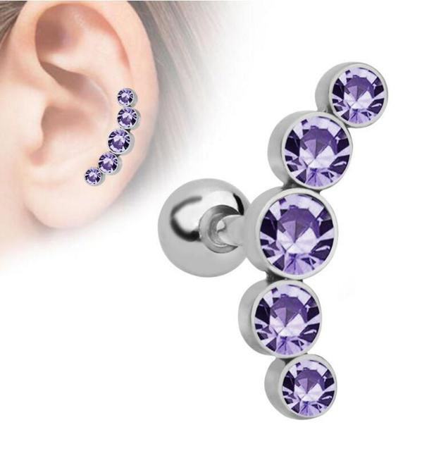 1PC Steel Crystal Ear Stud...